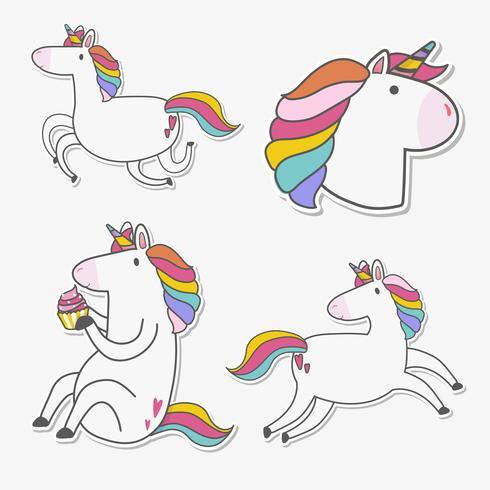 Set di vettore di adesivi unicorno