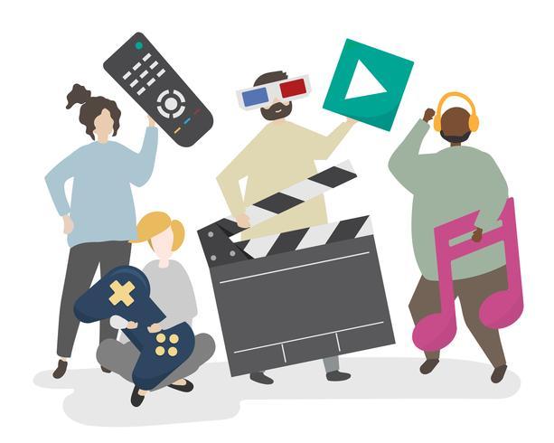 Pessoas e ilustração do conceito de multimídia