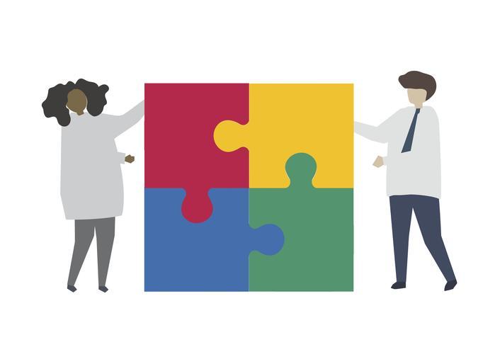 Trabalho em equipe conectando peça de quebra-cabeça