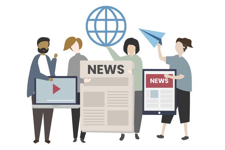 Personas con ilustración de noticias globales.