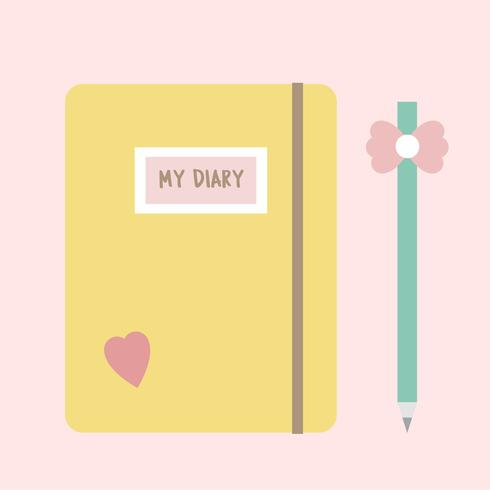 Illustration of a girly notebook