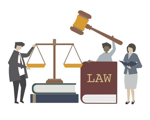 Ilustración del concepto de ley y justicia