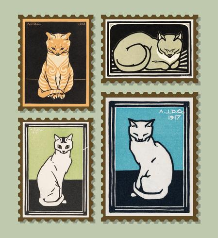 Vintage Illustration of Set of stamps with cats.