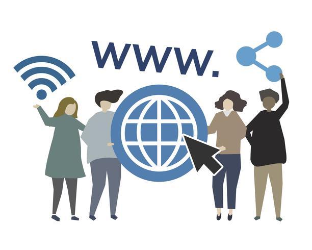 Ilustración de concepto web mundial de internet