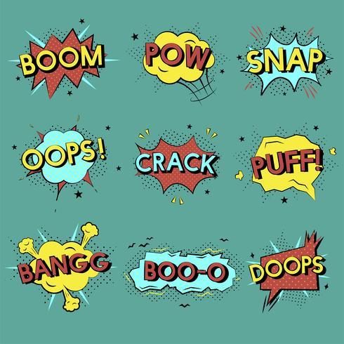 Ensemble d'illustration de graphiques de mot bande dessinée