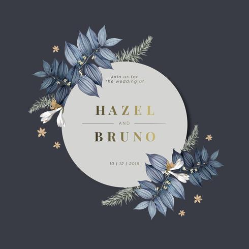 Vecteur de conception de carte invitation mariage floral