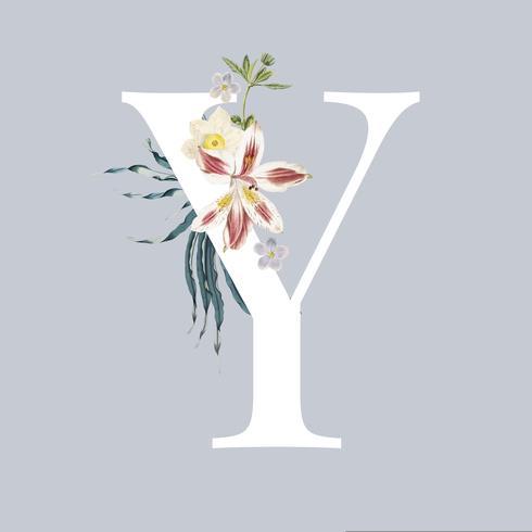 Buchstabe Y mit Blüten
