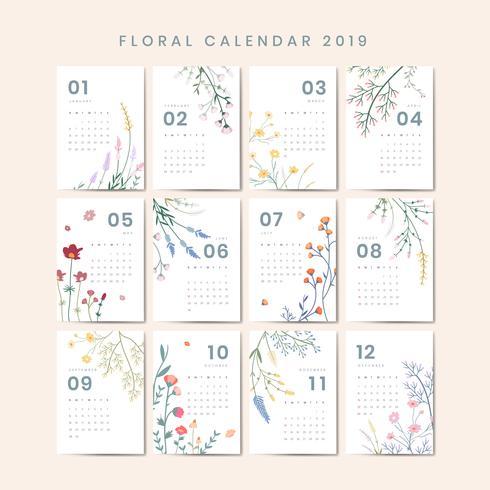 Calendario 2020 Vettoriale Gratis.Mockup Calendario Floreale Scarica Immagini Vettoriali