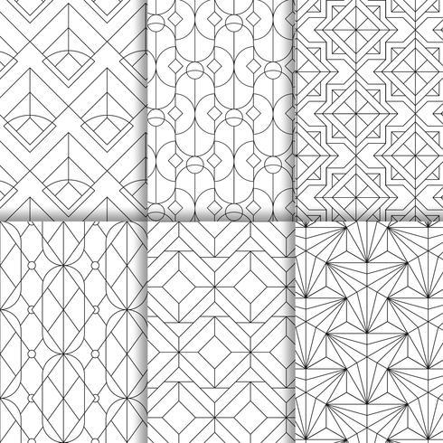 Black geometric seamless patterns set on white background