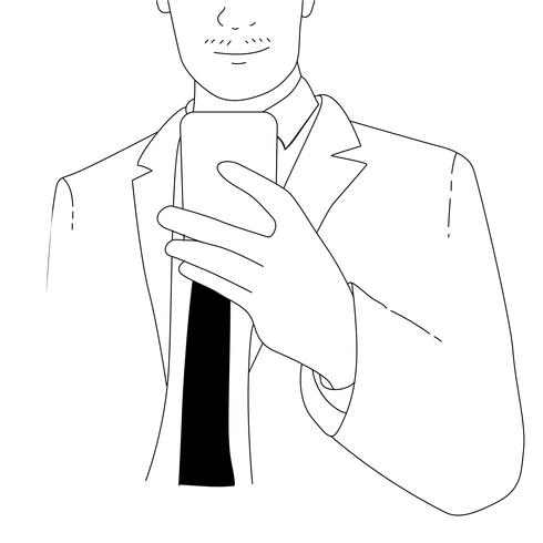 Vector of drawing businessman using mobile phone