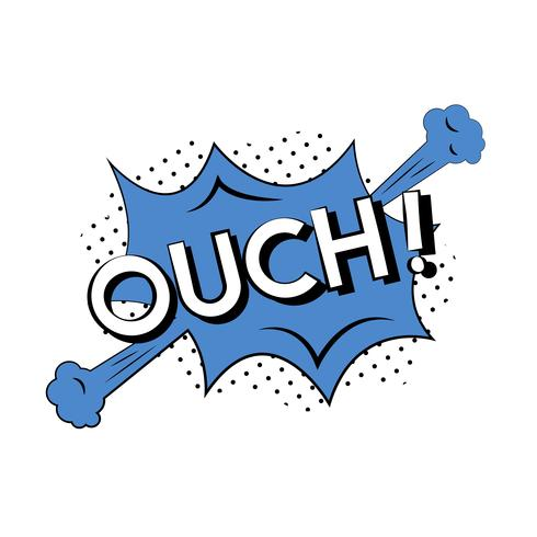 Comic style illustration of the word ouch