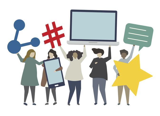 Socialt nätverk och anslutningskonceptillustration