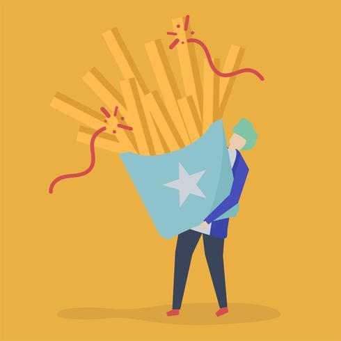 Karaktär av en kille som innehar pommes frites illustration