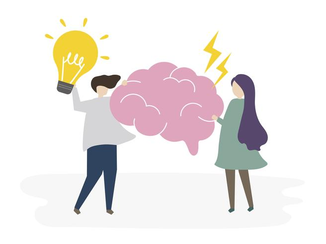 Pessoas ilustradas com ideias criativas