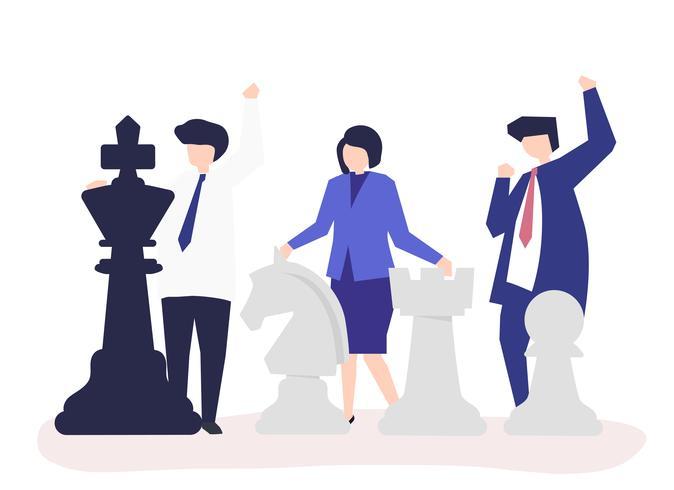 Affärsmän med jätte schackbitar