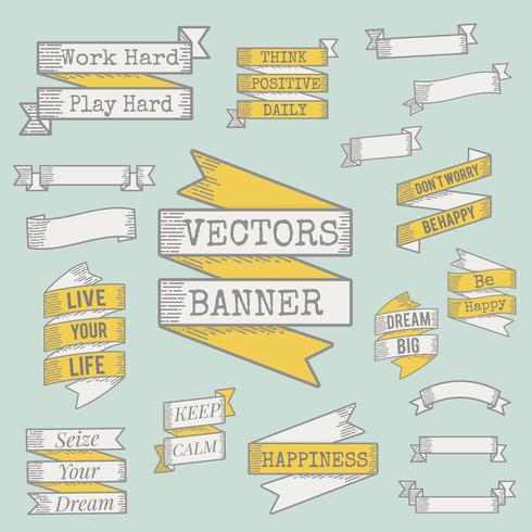 Illustration of ribbon banner collection