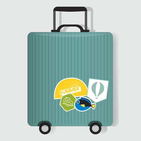 Green Travel Bagage Bagage med Stickers Vector Illustration