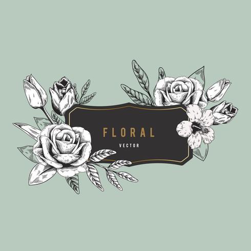 Romantic floral badge