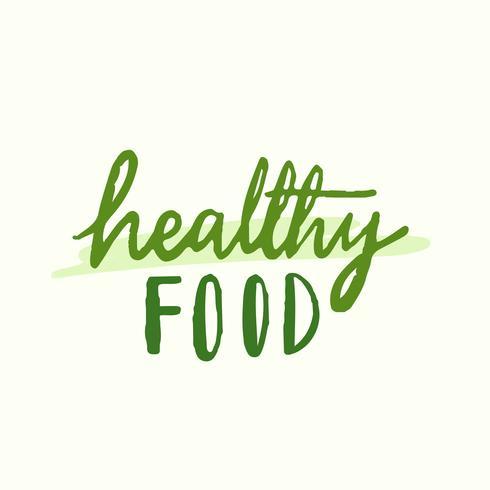 Vector de tipografía de alimentos saludables en verde