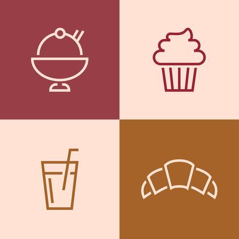 Conjunto de vectores de iconos de restaurante