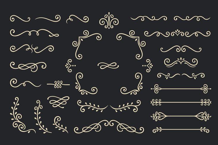 Impostare la raccolta di elementi di ornamento d'epoca su sfondo nero