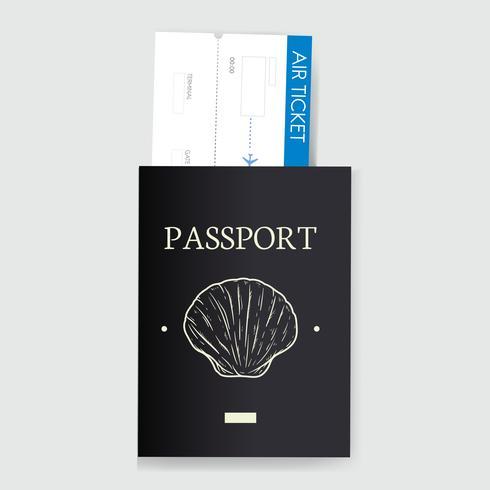 Passaporto con illustrazione vettoriale biglietto