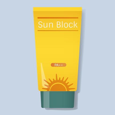 Bloqueador solar protección tubo amarillo ilustración vectorial