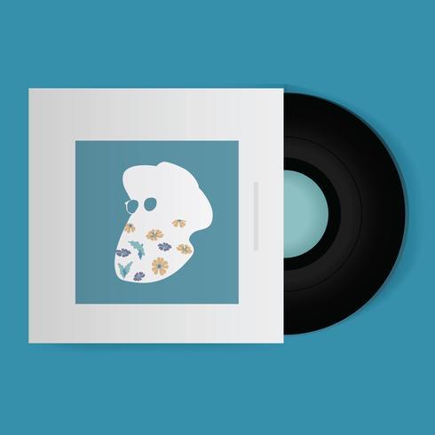 Music Vinyl Record Disc Ícone Ilustração Vector