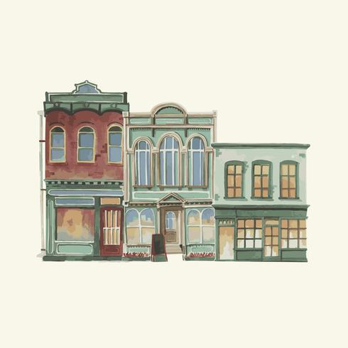 Ilustración de un exterior de edificio europeo vintage en color de agua