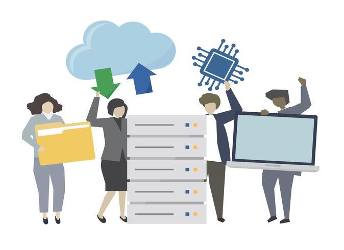 Ilustração de conceito de tecnologia de transferência de dados on-line