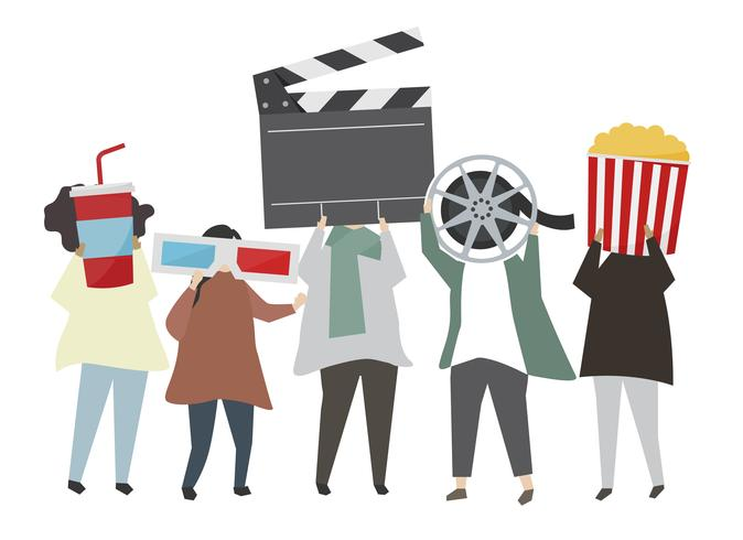 Leute, die Filmkonzept-Ikonenillustration halten