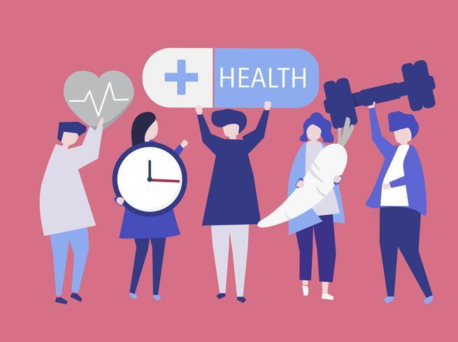 Charactes von den Leuten, die Gesundheitsikonenillustration halten