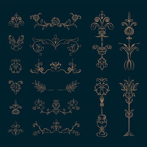 Insieme dell'illustrazione dell'ornamento fiorente dell'annata