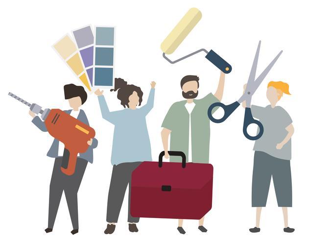 People holding interior design equipment illustration