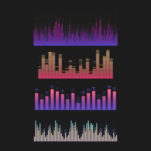 Colorful sound wave equalizer vector design set