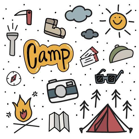 Estilo de dibujo de ilustración de fondo de los iconos de camping vector