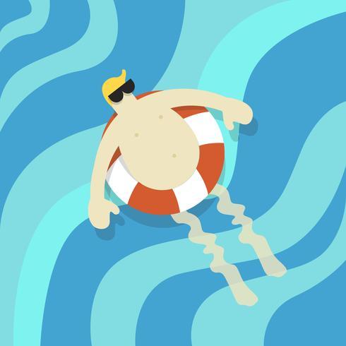 Vettore di un uomo che galleggia nell'acqua