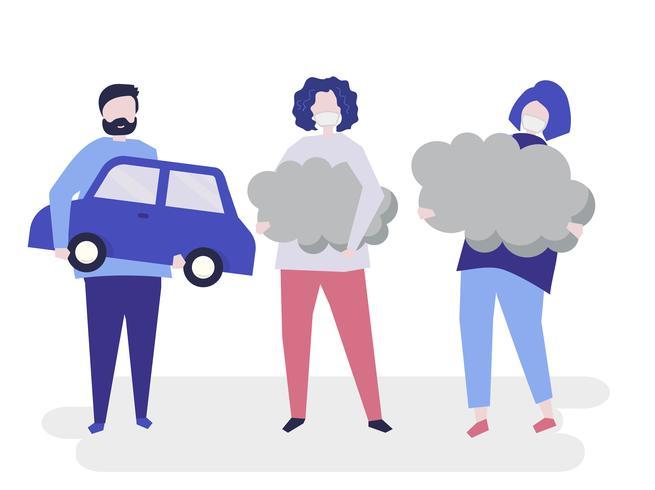 Charakter von den Leuten, die Luftverschmutzungssymbolillustration halten