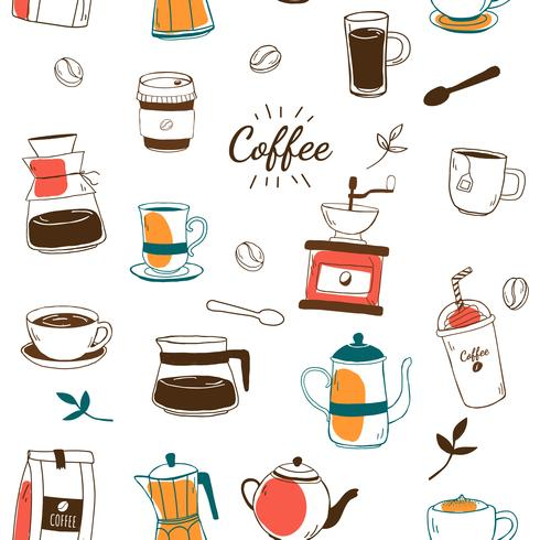 Café y cafetería vector patrón de fondo