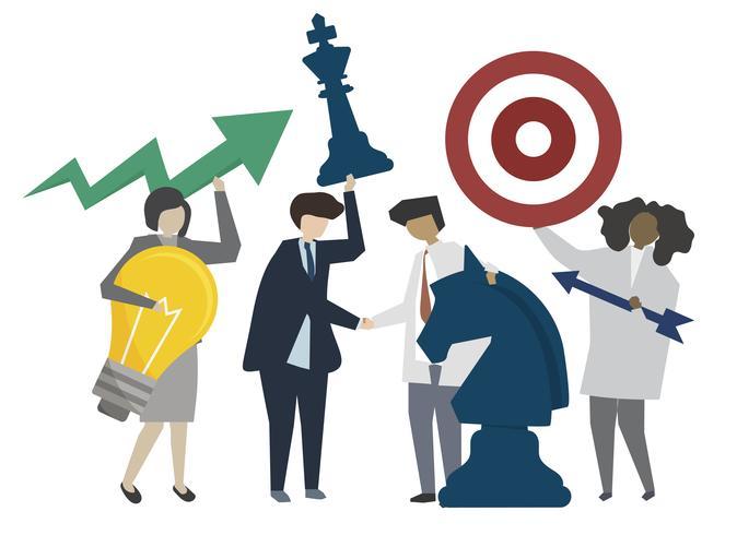 Illustration de la stratégie et de la coopération des gens d'affaires