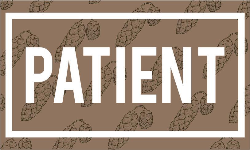 Illustrazione della parola paziente su fondo marrone