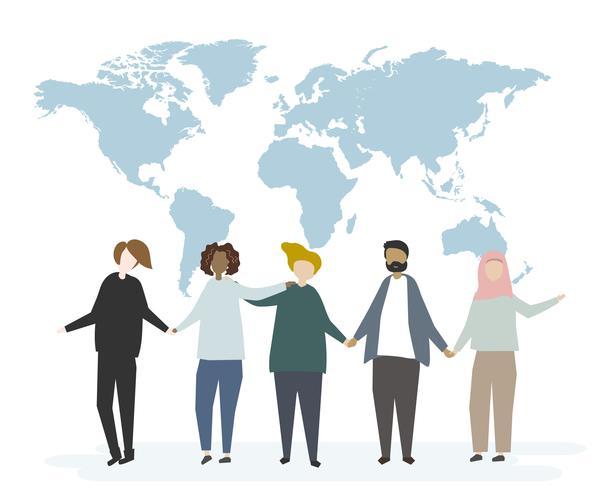 Illustration du concept de communication mondiale globale