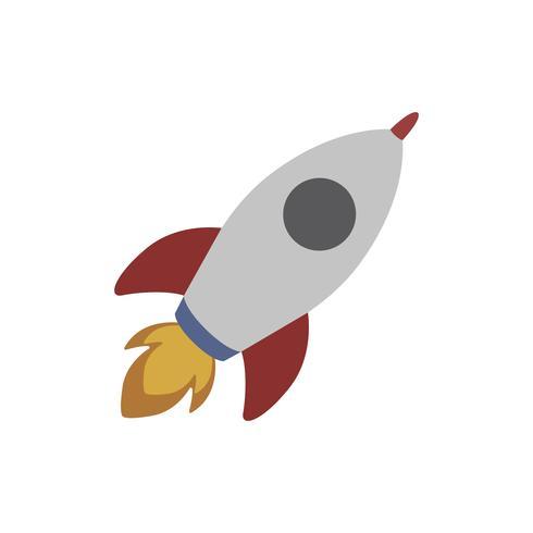 Witte ruimteraket vliegen geïsoleerde grafische illustratie