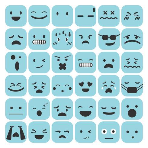 Gli emoticon di Emoji hanno messo l'illustrazione di vettore della raccolta di sensibilità di espressione del fronte