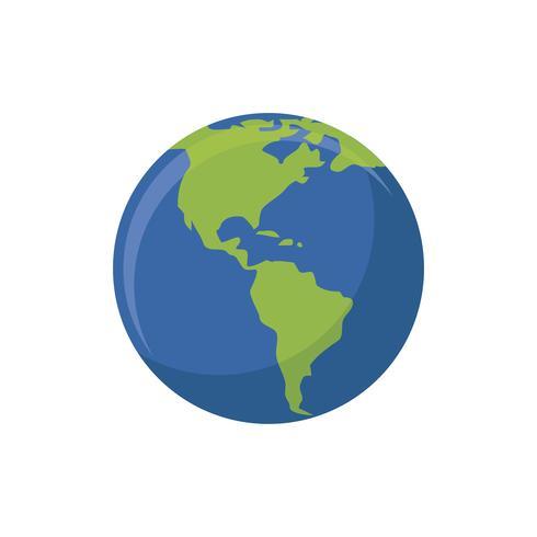 Illustrazione grafica isolata globo della terra
