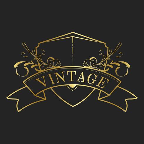 Vintage golden art nouveau badge vector