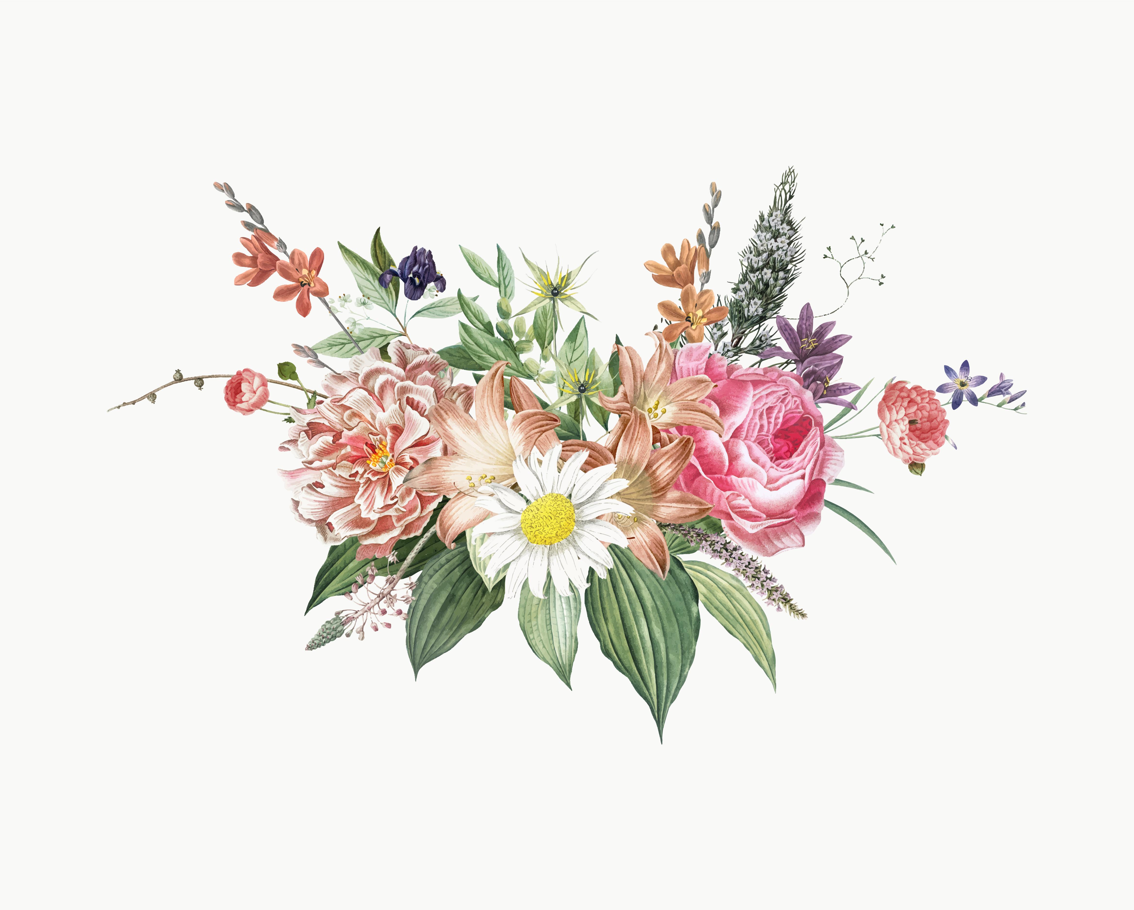 Mixed flower bouquet - Download Free Vectors, Clipart ...