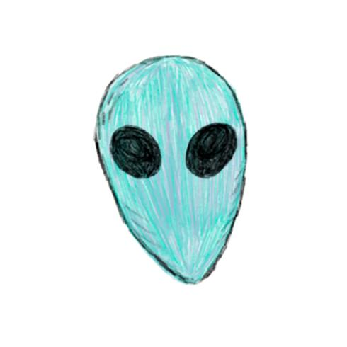 Illustration of hand drawn alien icon isolated on white background