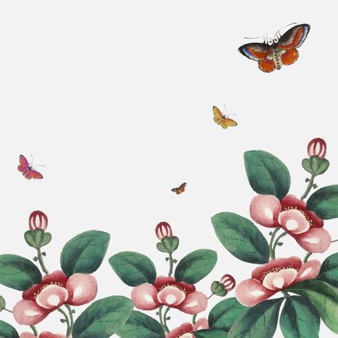 Kinesisk målning med blommor och fjärilar tapeter