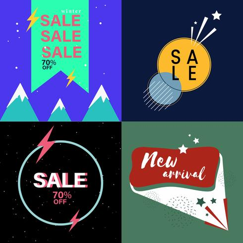 Set of sale advertising graphics vector